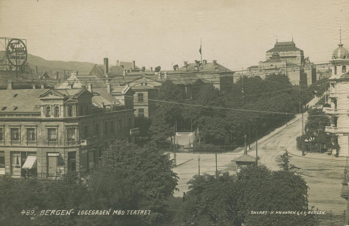 Bergen. Logegaten og Den nationale scene, før 1916. Utgiver: K. Knudsen & Co.