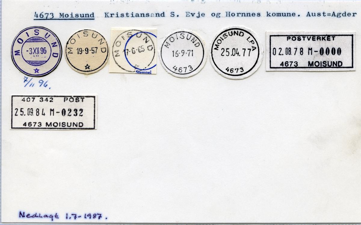 Stempelkatalog  4673 Moisund, Evje og Hornnes kommune, Aust-Agder