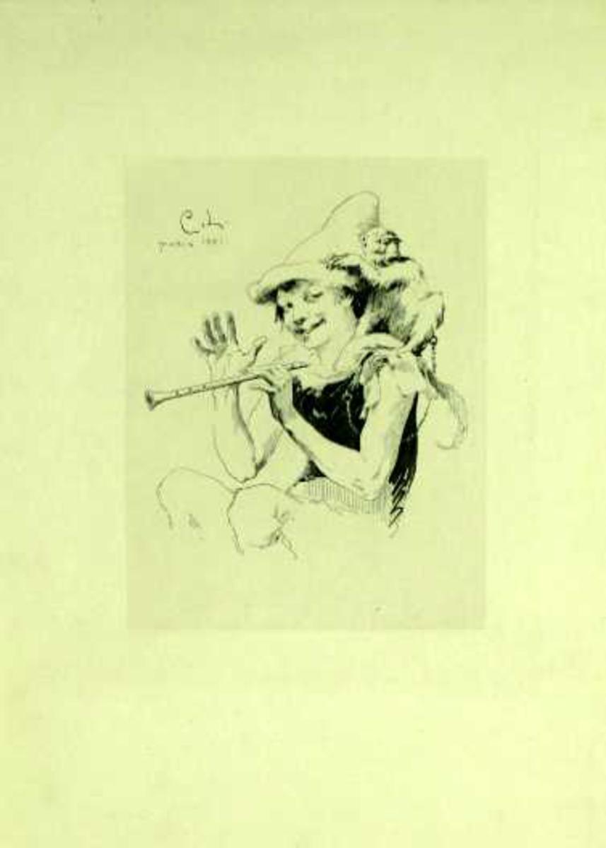 Fløytespiller med apekatt på skulderen.