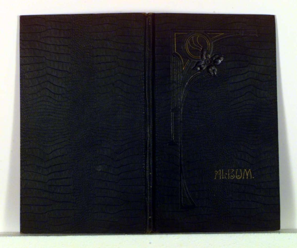 Album med bilder/prospektkort. Forsiden dekorert med blomstermotiv