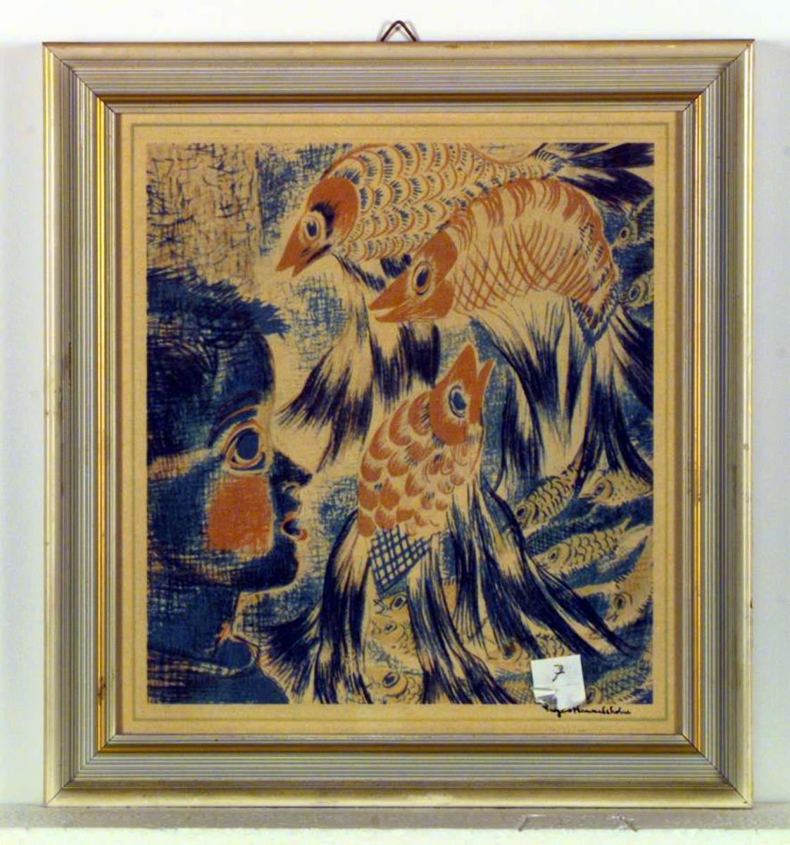 Et bilde av et barnehode og fisker i en dekorativ stil.