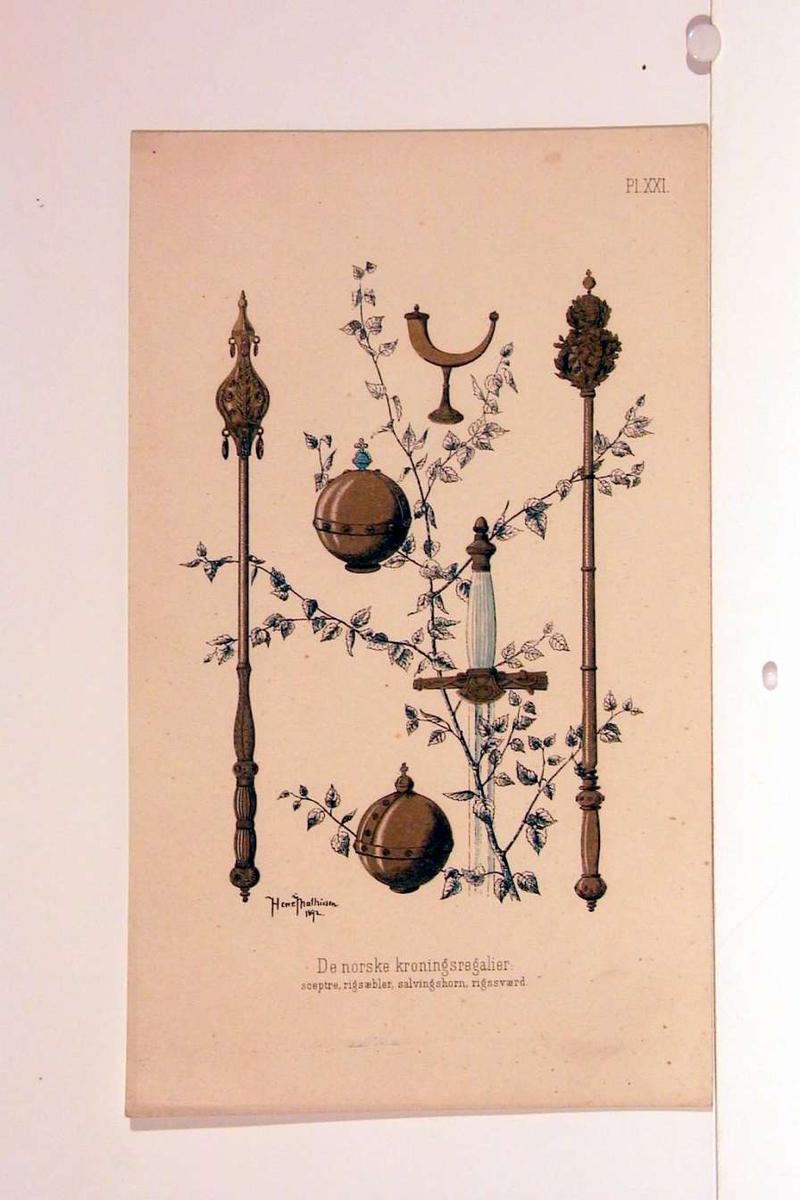 De norske kronregaliene: septre, riksepler, salvingshorn, rikssverd