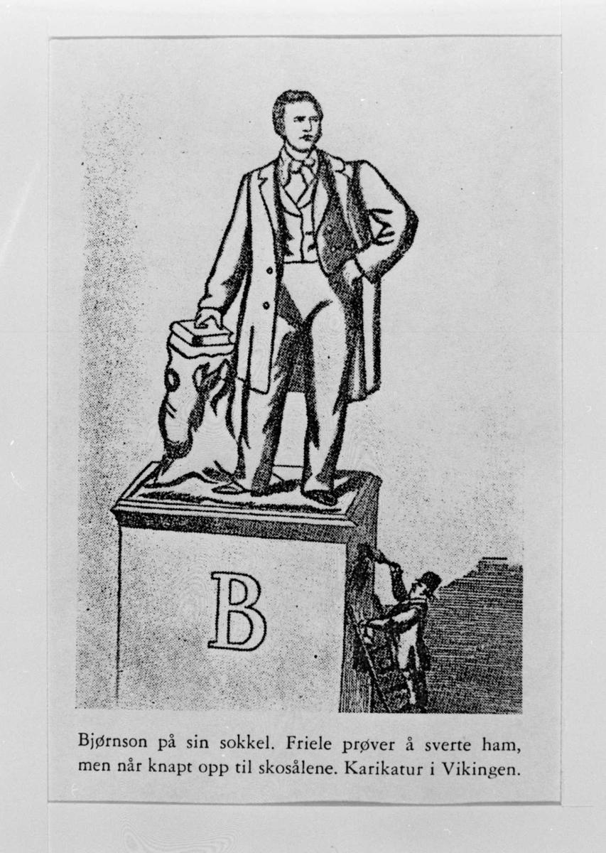 Karikatur, Bjørnson, statue,