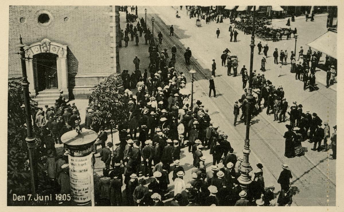 Brevkort, Kristiania, 7. juni 1905 (unionsoppløsningen)