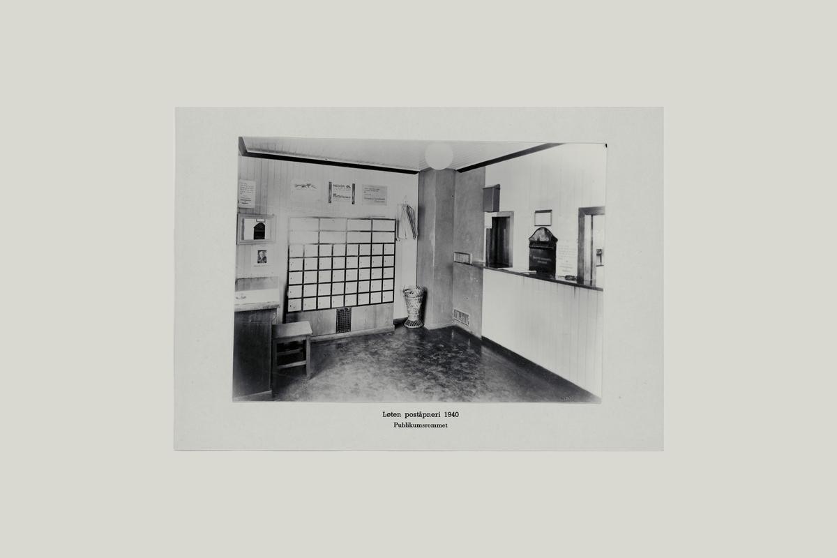 interiør, postkontor, 2340 Løten, publikumshall, innstikkpostkasse, postbokser