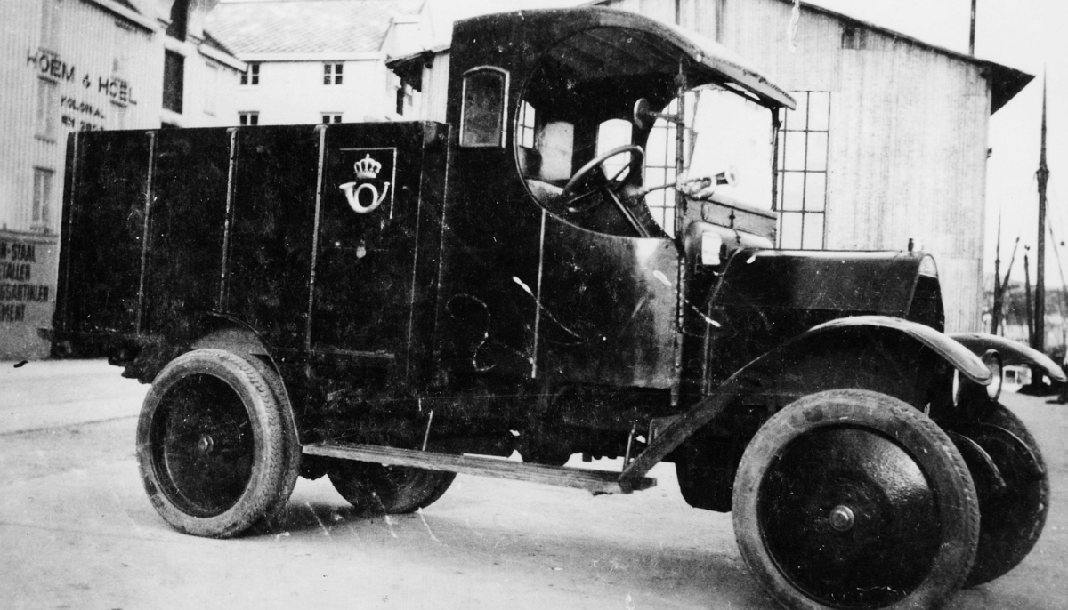 transport, bil, lastebil, Fiat Lorry 15 Ter, postemblem, horn, to menn