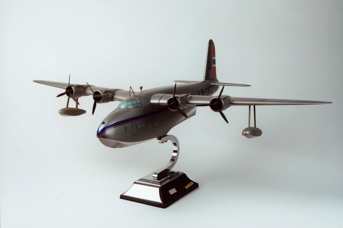 Postmuseet, gjenstander, fly, modell, Short Sandringham Mark VI flybåt.