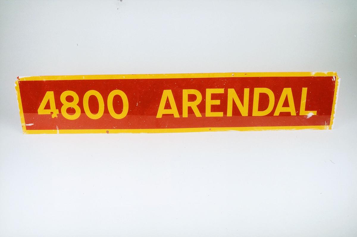 Postmuseet, gjenstander, skilt, stedskilt, stedsnavn, 4800 Arendal.