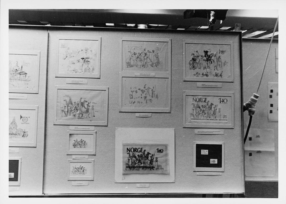 markedsseksjonen, verdenspostforeningen 100 år, Arne Johnson, utkast og tegninger, U.P.U.frimerker