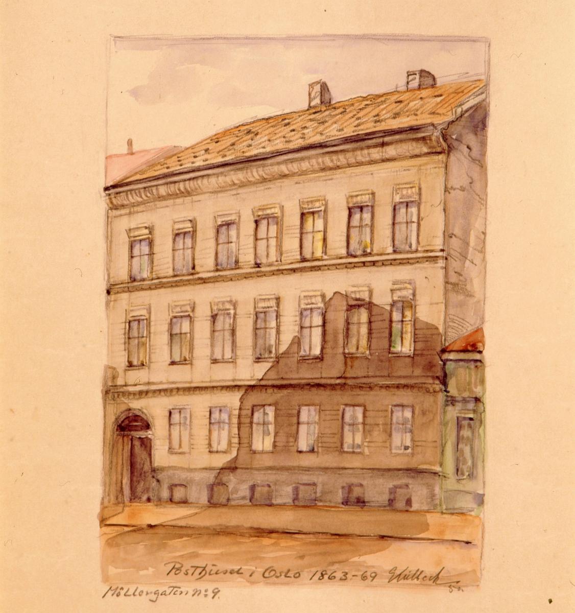 """postmuseet, kunst, akvareller, G. Kulbeck: """"Det Christiania som forsvinder, Møllergaten no. 9"""", eksteriør, Posthuset i Oslo 1863-69, motivet finnes også på CD-rom PRO1, bilde nr 97"""