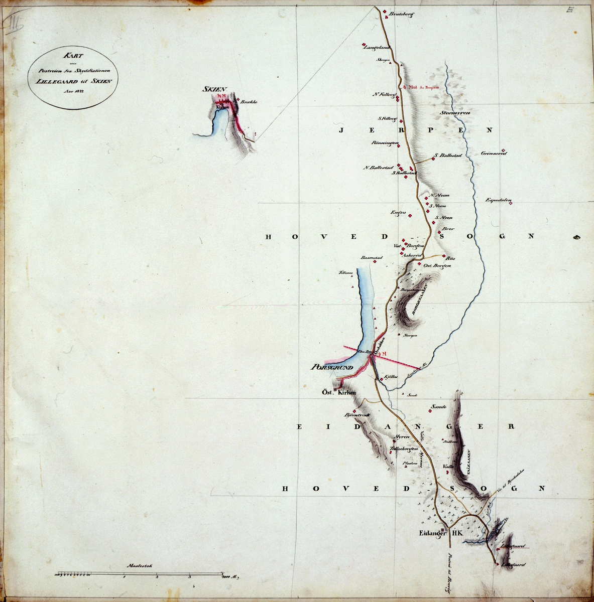 kart, postkart, kart over postveien fra Skydstationen Lillegaard til Skien Aar 1822