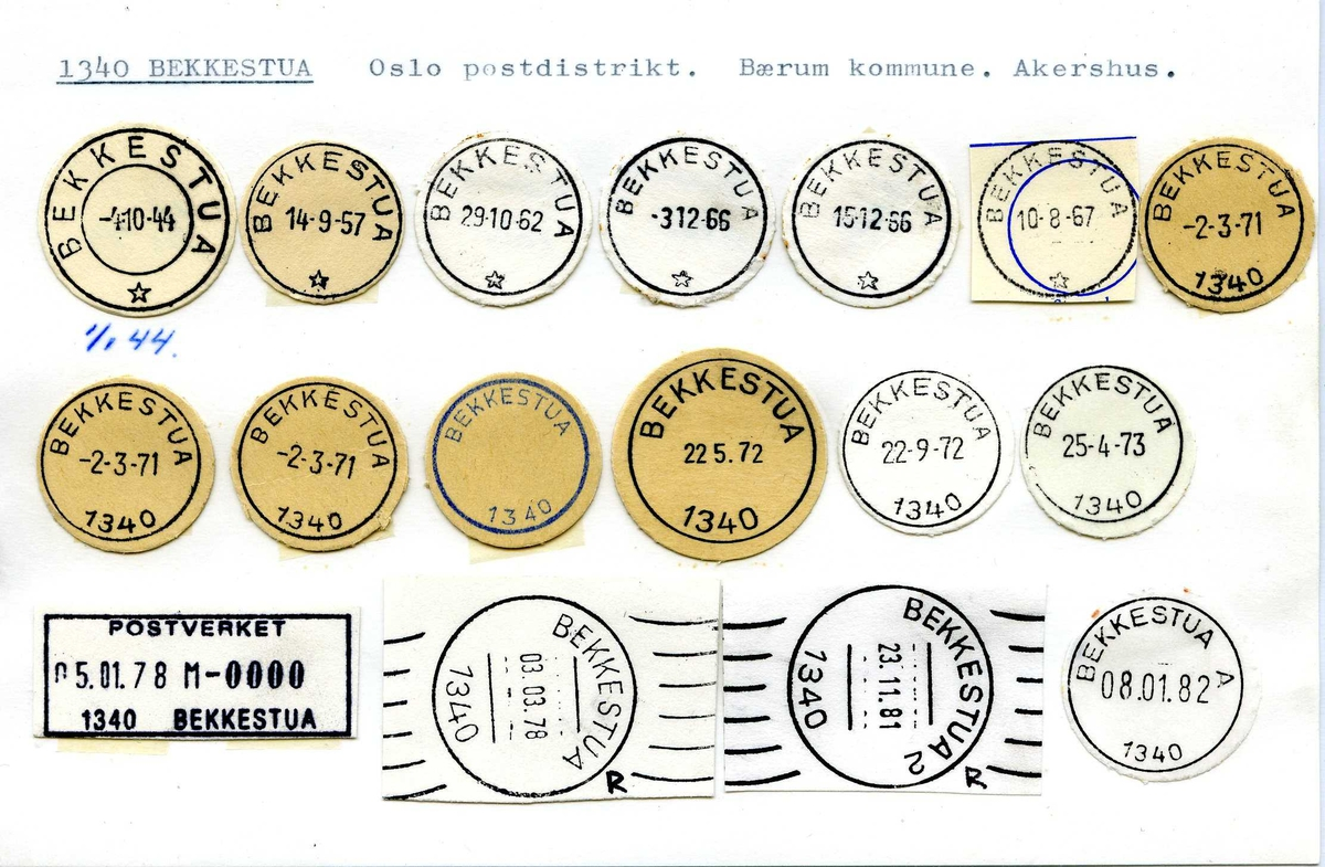 Stempelkatalog 1340 Bekkestua, Oslo, Bærum, Akershus