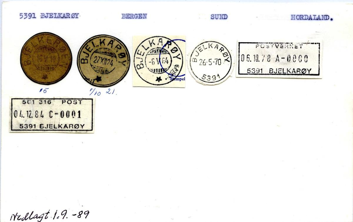 Stempelkatalog, 5391 Bjelkarøy, Bergen, Sund, Hordaland