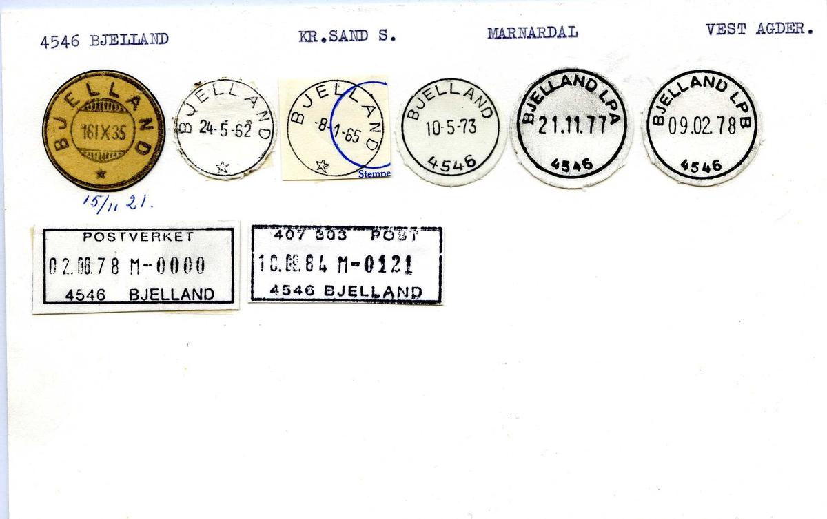 Stempelkatalog, 4546 Bjelland, Marnardal, Vest-Agder