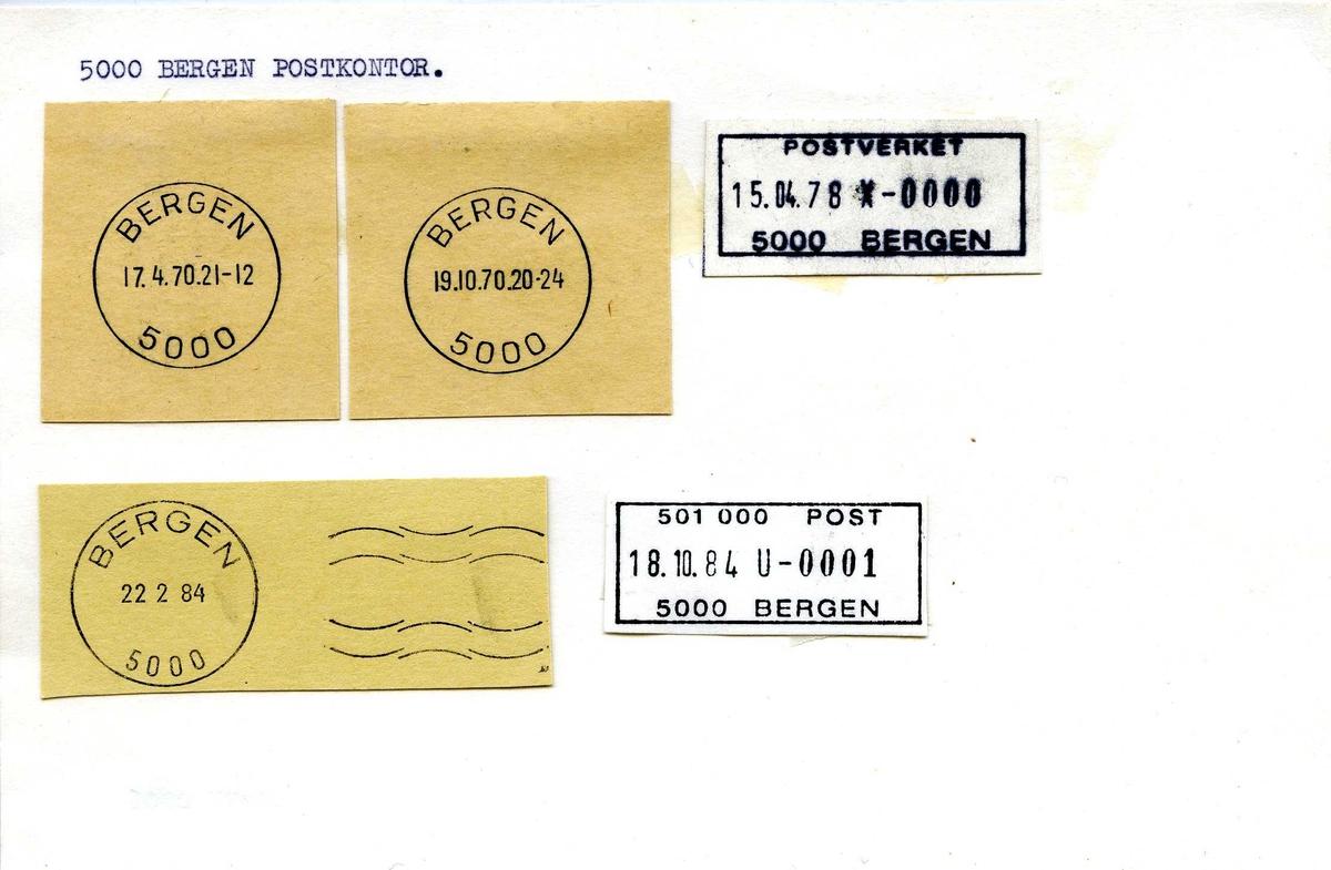 Stempelkatalog, Bergen postkontor. Bergen kommune. Hordaland fylke. Bergen bud. Rulledatostempel.