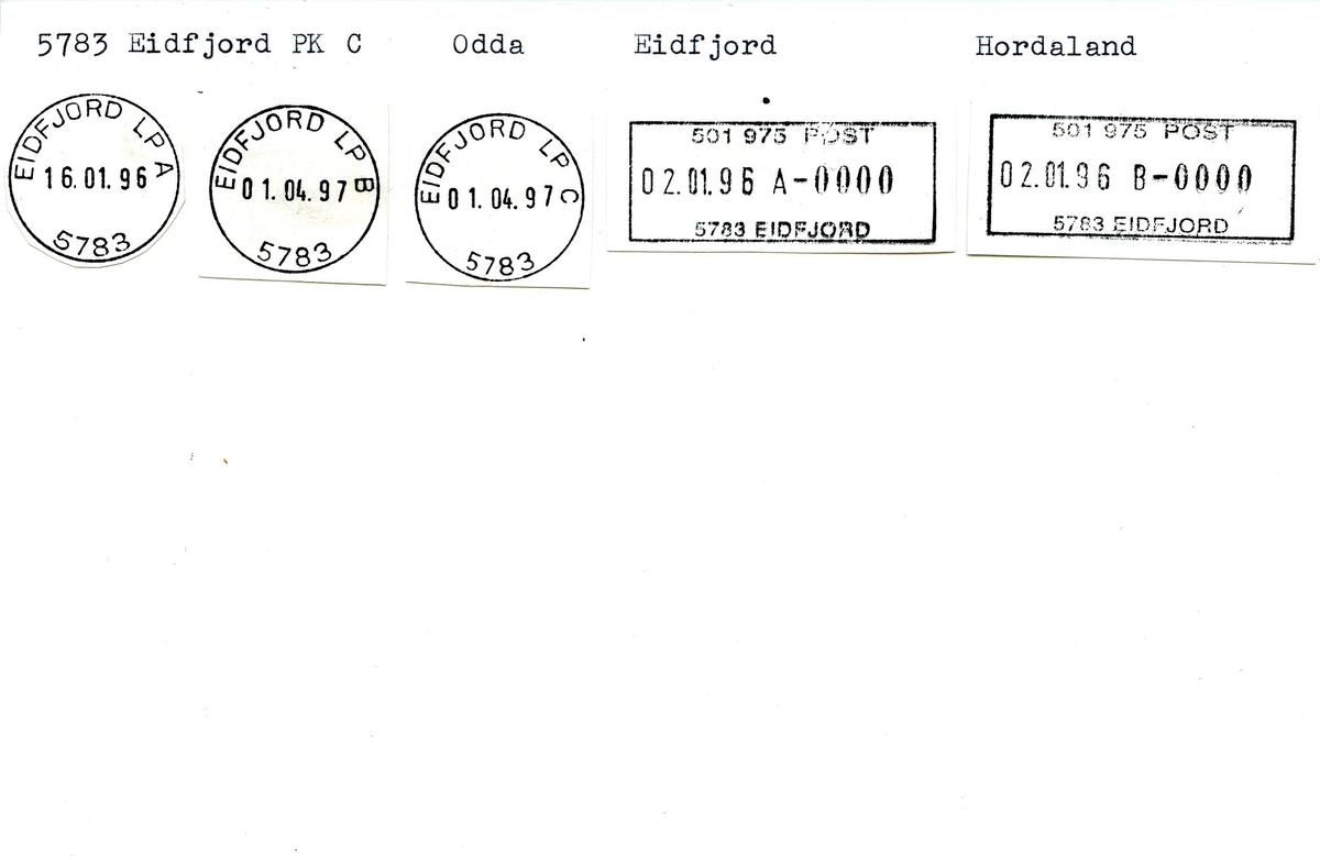 Stempelkatalog, 5783 Eidfjord PK C, Odda, Eidfjord kommune, Hordaland (Eidfjord i Hardanger, Ullensvang kommune)