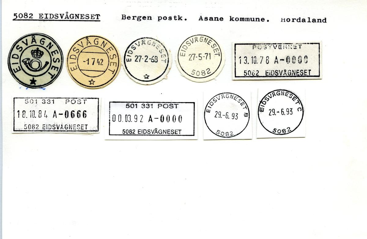 Stempelkatalog, 5082 Eidsvågneset. Bergen postkontor. Åsane kommune. Hordaland.