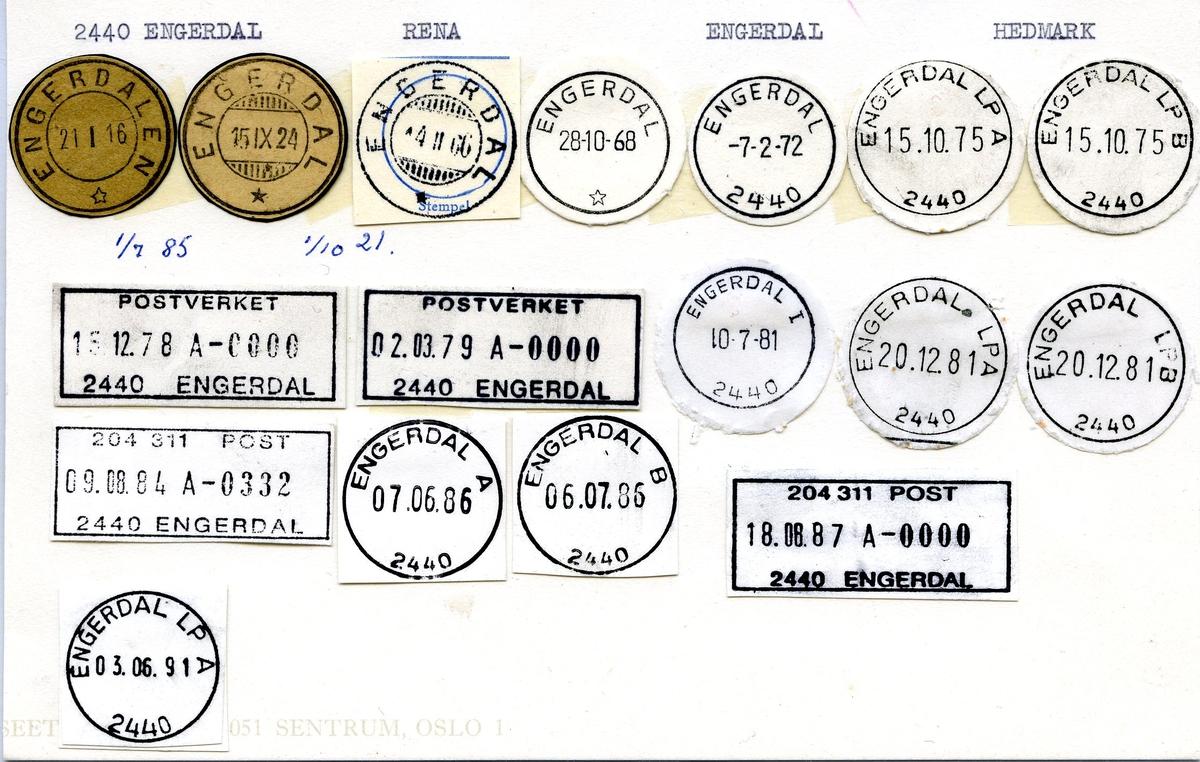 Stempelkatalog,2440 Engerdal, Rena, Engerdal, Hedmark