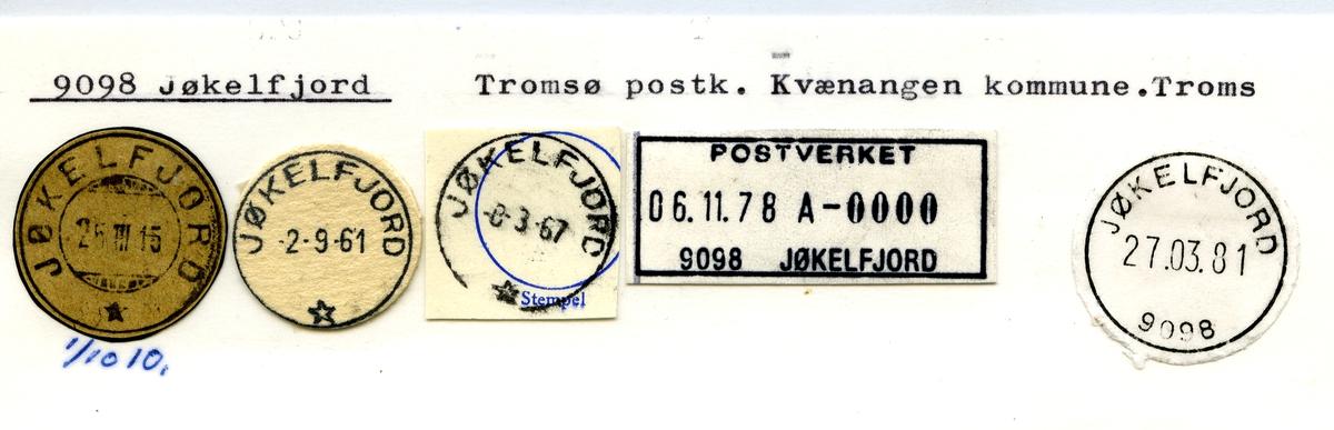 Stempelkatalog. 9098 Jøkelfjord, Tromsø, Kvænangen kommune, Troms