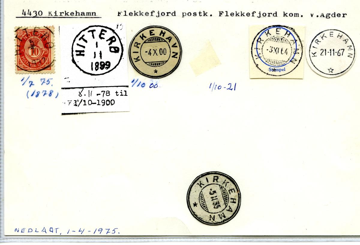 Stempelkatalog 4430 Kirkehamn, Flekkefjord kommune, V..Agder (Hitterø)