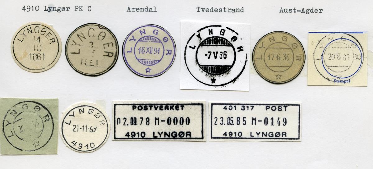 Stempelkatalog, 4910 Lyngør, Arendal, Tvedestrand kommune, Aust-Agder