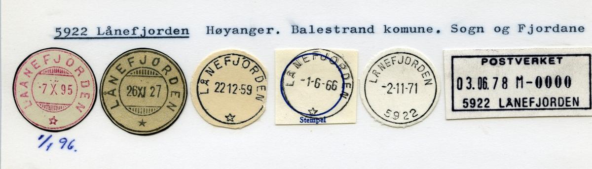 Stempelkatalog, 5922 Lånefjorden, Balestrand kommune, Sogn og Fjordane