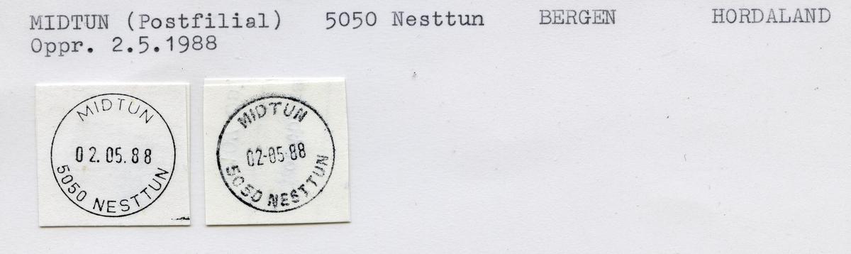 Stempelkatalog  Midtun (Postfilial), 5050 nesttun, Bergen kommune, Hordaland