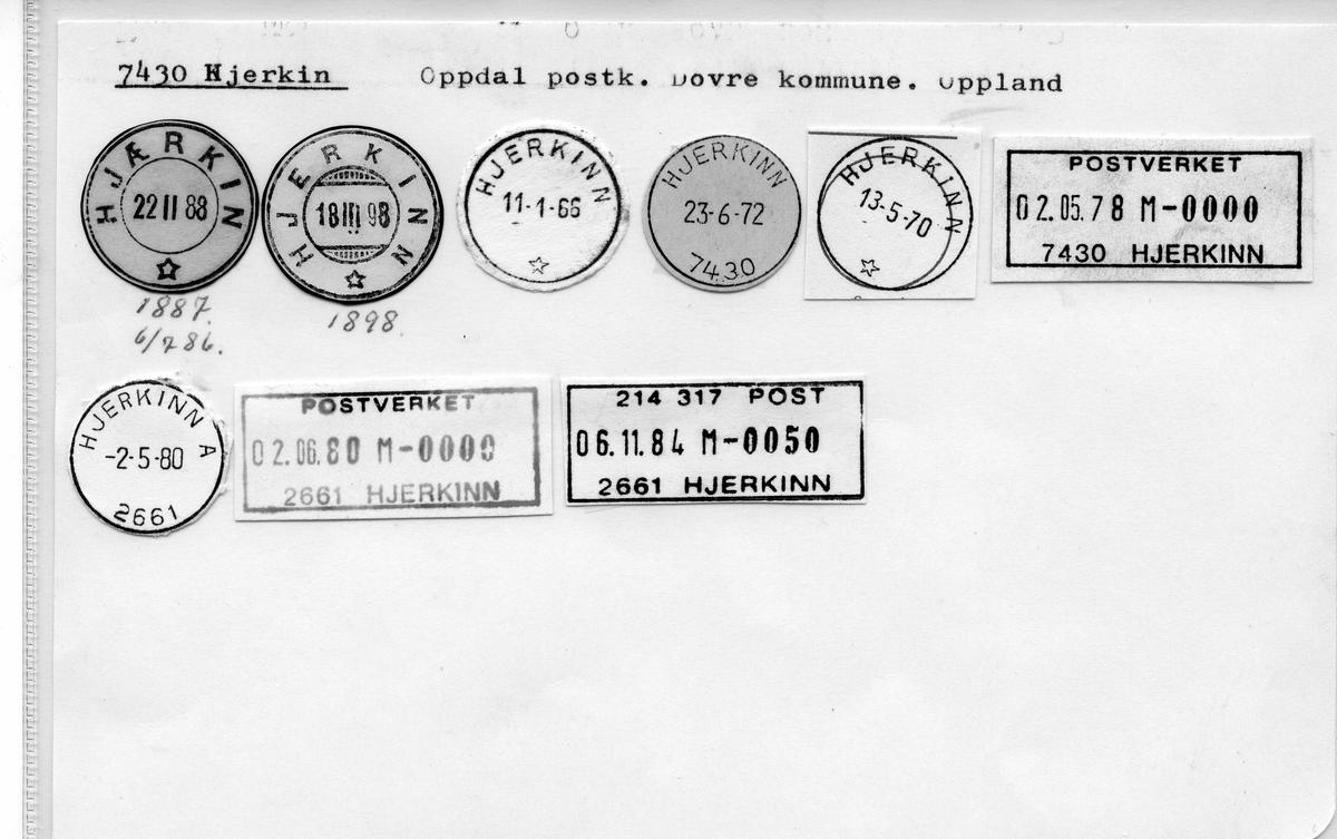 Stempelkatalog. 7430 Hjerkin. Oppdal postkontor. Dovre kommune. Oppland fylke.