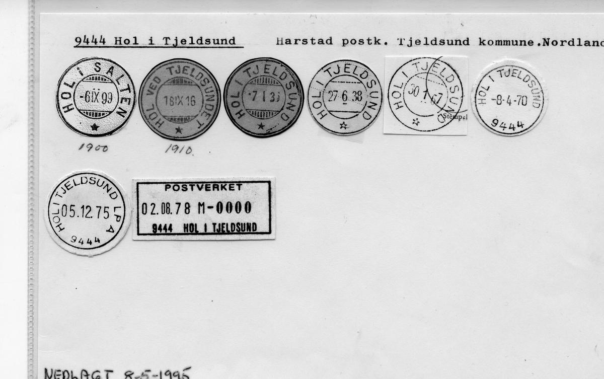 Stempelkatalog: Hol i Tjeldsund, Harstad postk., Tjeldsund kommune, Nordland (Hol i Salten til 1900, Hol ved Tjeldsundet 1910)