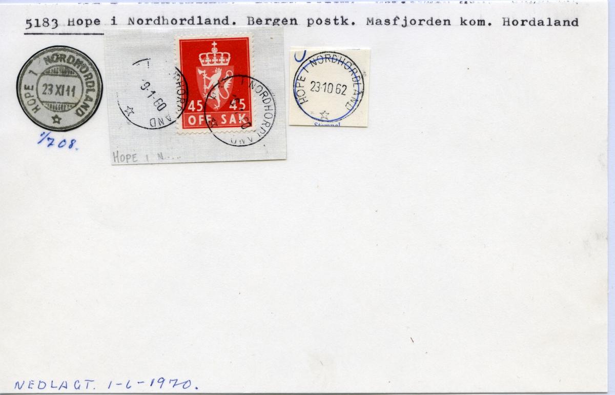 Stempelkatalog 5183 Hope i Nordhordland, Bergen, Masfjorden, Hordaland