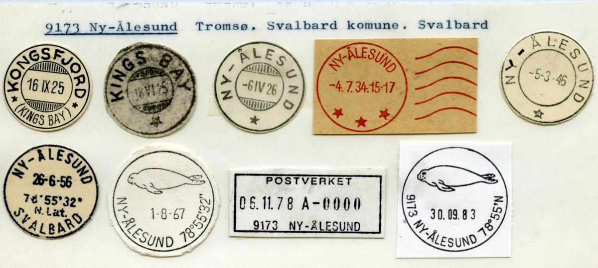 Stempelkatalog. 9173 Ny-Ålesund, Tromsø, Svalbard kommune, Svalbard (Kongsfjord, Kings Bay, )