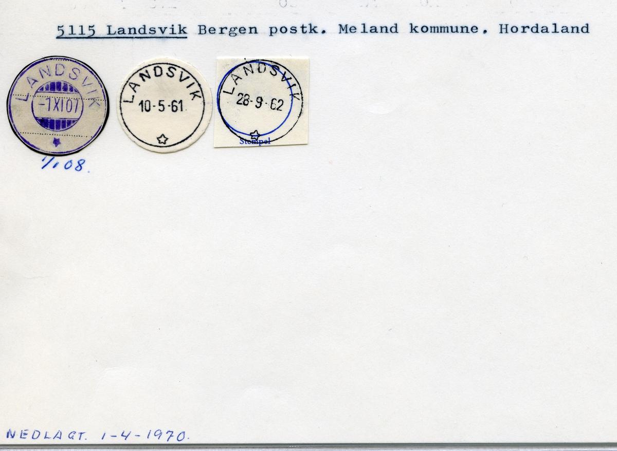 Stempelkatalog 5115 Landsvik, Bergen, Meland, Hordaland