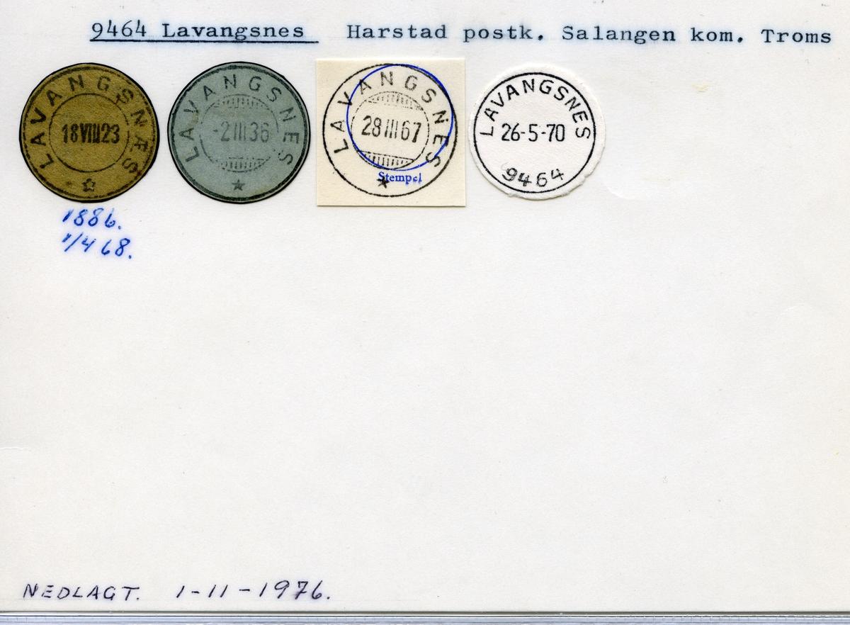 Stempelkatalog 9464 Lavangsnes (Lavangsnæs), Harstad, Salangen, Troms