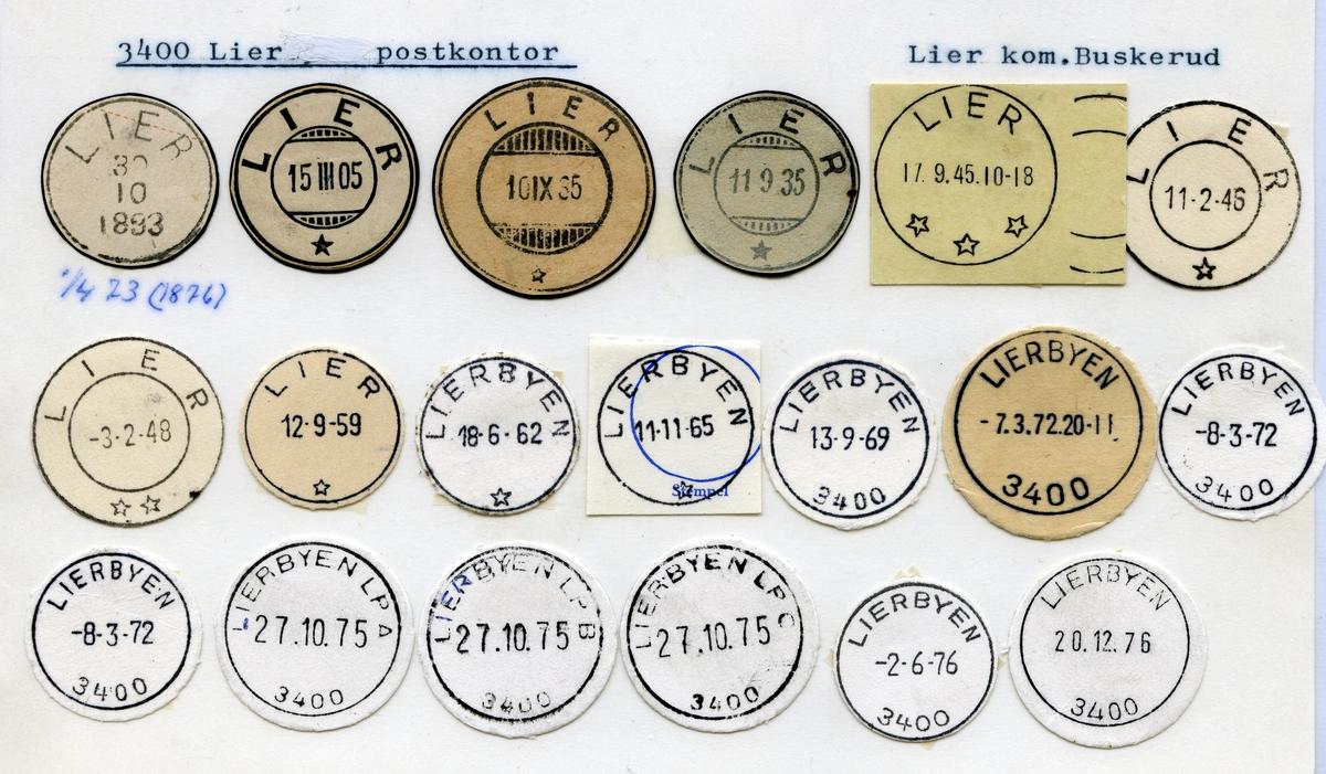 Stempelkatalog 3400 Lier (Lierbyen), Lier, Buskerud