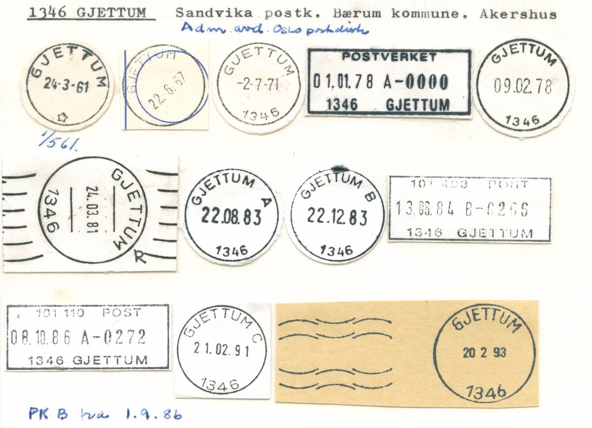 Stempelkatalog 1346 Gjettum, Sandvika, Bærum, Akershus