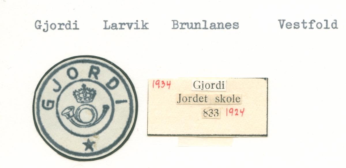 Stempelkatalog Gjordi, Larvik, Brunlanes, Vestfold