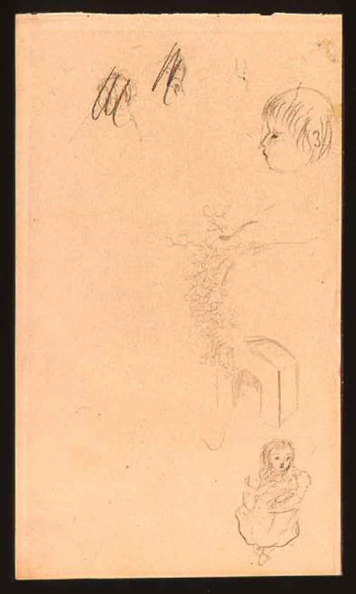 Skisse av et barnehode, en pike og en port.