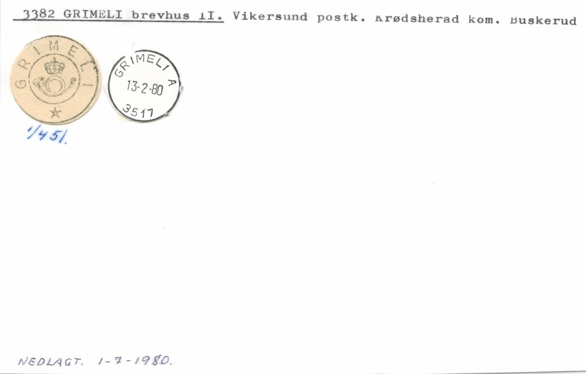 Stempelkatalog 3382 Grimeli, Vikersund, Krødsherad, Buskerud