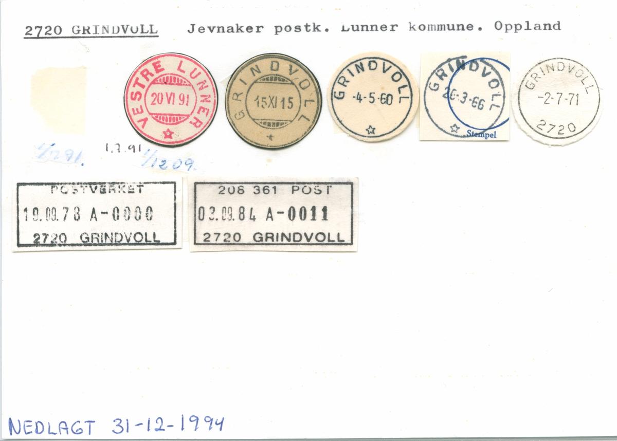 Stempelkatalog 2720 Grindvoll, Jevnaker, Lunner, Oppland