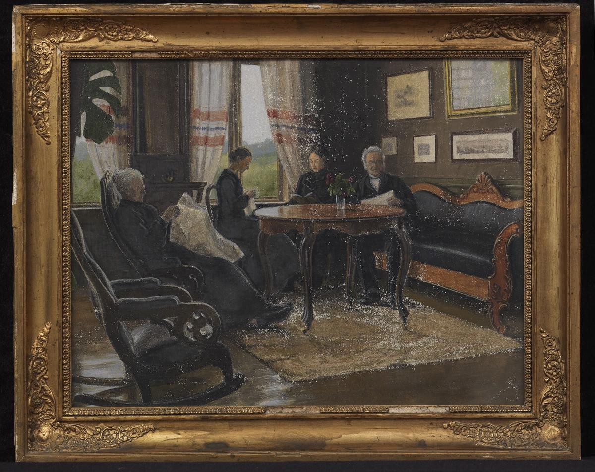 Rektangulær ramme: plast. ornamenter i hj., Interiør med eldre dame og herre og 2 unge damer