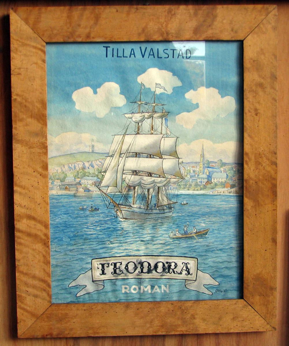 Rektangulær. Prospekt av Tønsberg; seilskip på havnen i  forgrunnen,  robåter.