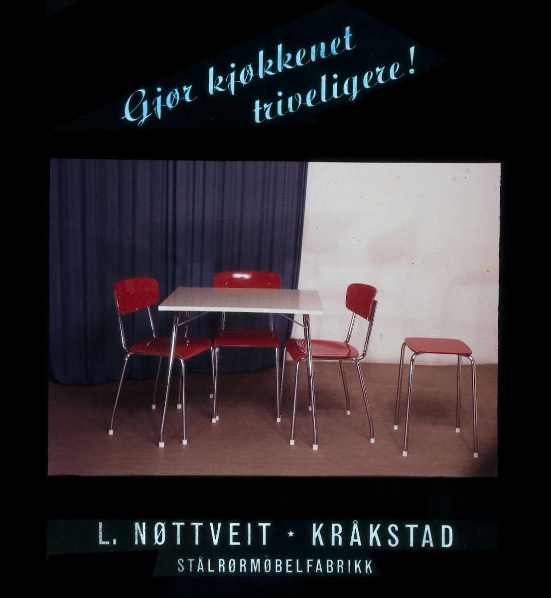 Kinoreklame fra Ski for kjøkkenmøbler i respatex. Gjør kjøkkenet triveligere! L. Nøttveit, Kråkstad. Stålrørmøbelfabrikk