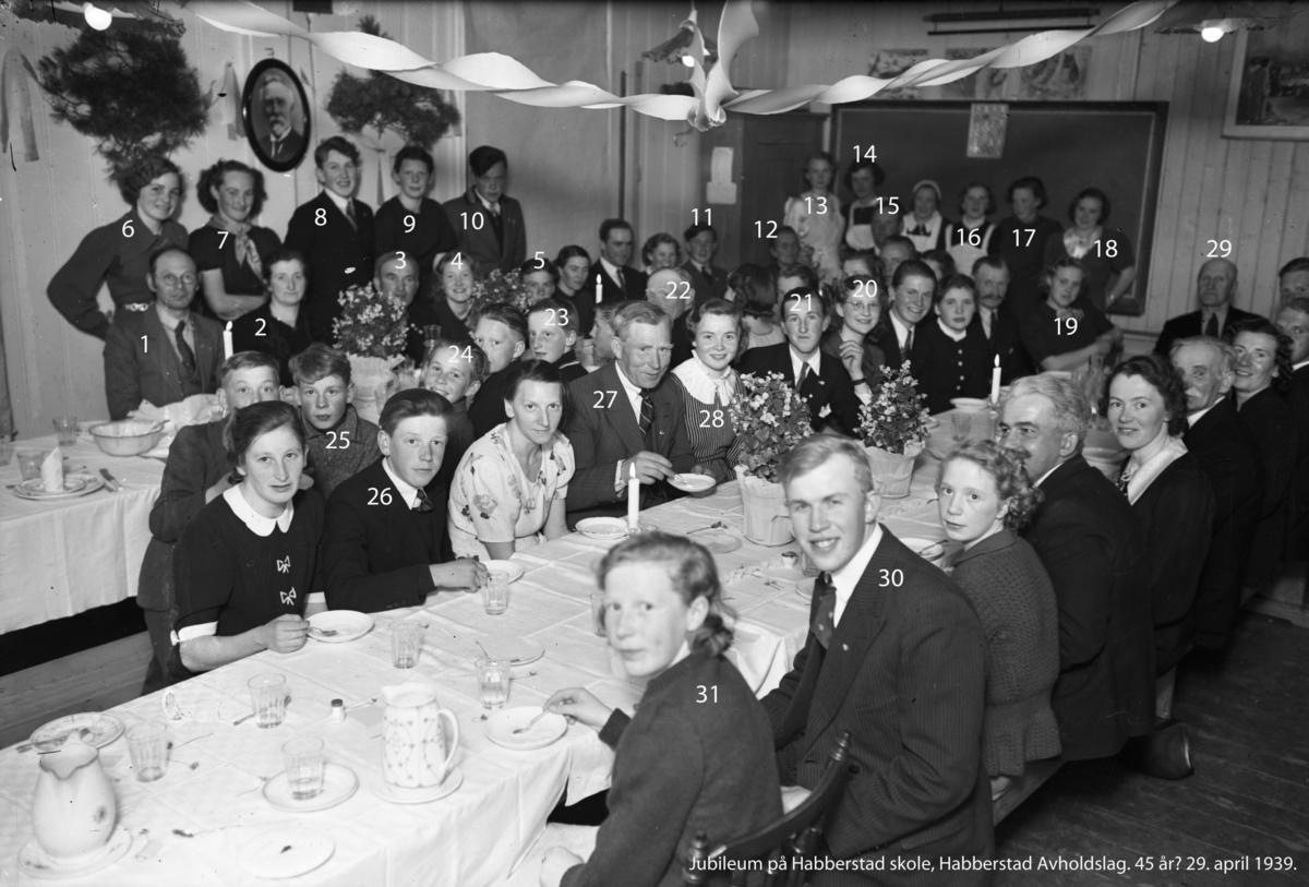 Jubileum på Habberstad skole, Habberstad Avholdslag. 45 år? 29. april 1939.  1-Lambert Dahl, 2-Wilhelmine Røkholt, 3-Ole Sæther, 4-Astrid Sanner, 5-Knut Hemli, 6-Ingeborg Solvang, 7-Olga Eriksen?, 8-Knut Habberstad, 9-Mari Ljødal, 10-Oddvar Hemli, 11-Egil Hemli, 12-Gunda Enge, 13-Ruth Aulie, 14-Maren Røkholt, 15-Jens Røkholt, 16-Elsa Alnes, 17-Åse Jansen, 18-Minda Jansen, 19-Olaug Bergerud, 20-Bodil Troberg, 21-Olav Habberstad, 22-Jakob Jansen, 23-Oddvar Jansen, 24-Henry Solvang, 25-Knut Ljødal, 26-Åge Nordseth, 27-Emil Jansen, 28-Kristine (Vesla) Røkholt, 29-Nicolai Aulie, 30-Åge Østengen?, 31-Marit Solvang.  På veggen henger bilde av lærer Sigurd Nesse (1852-1955), lærer mellom 1892 og 1923.  Kilde: N Ljødal