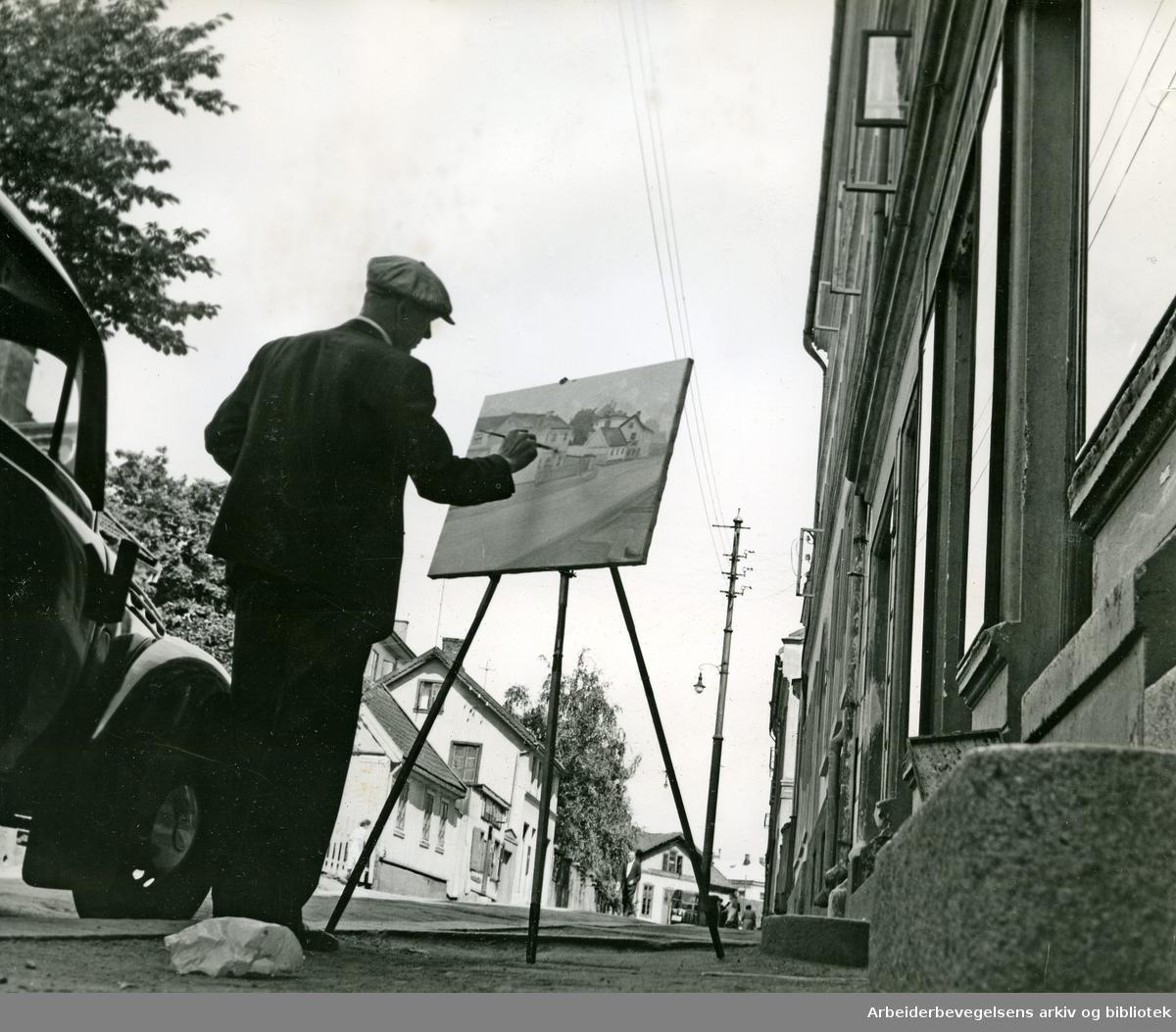Friluftsmaler i Oslos gater,.juli 1950