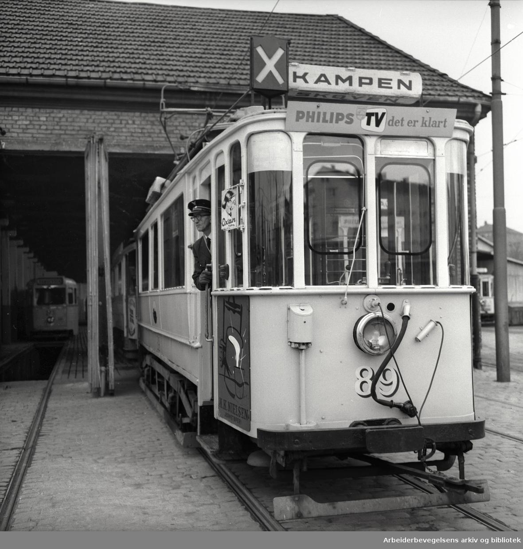 Oslo Sporveier..Siste trikk til Kampen går i stallen,.oktober 1960