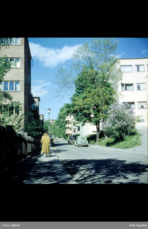 Fearnleys gate, sommerdag, kvinne med gul kåpe som triller vogn