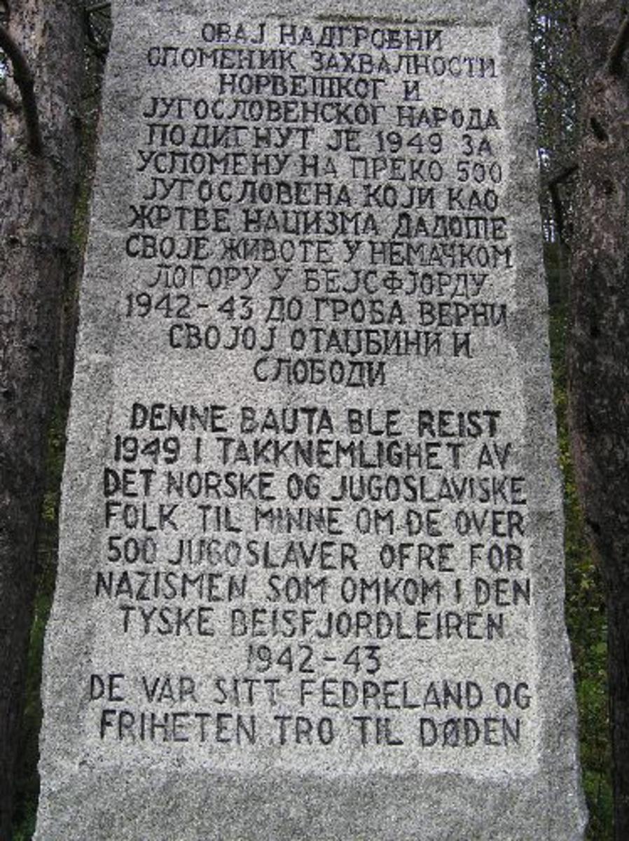 Avduket 19 juni 1949 av oberstløytnant Thor Strand, sjef IR 15.  Kjøreanvisning: Hovedvei gjennom Beisfjord sentrum, deretter skilting til minnelund.