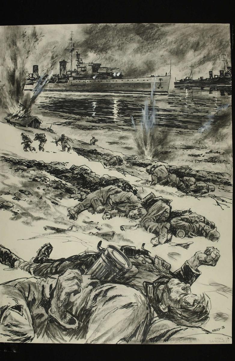 Krysseren Aurora og to jagere skyter det tyske bergjegerkompaniet ved Emmenes sønder og sammen 2. mai. Kampene i Norge 1940, bind 2, side 259.