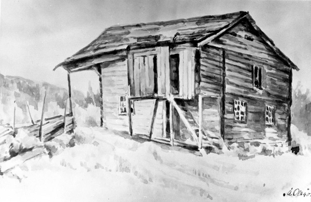 Akvarell av Moen, Helgøya. Den gamle plassen for smedene på Hovinsholm. Signert Å. Olssøn.