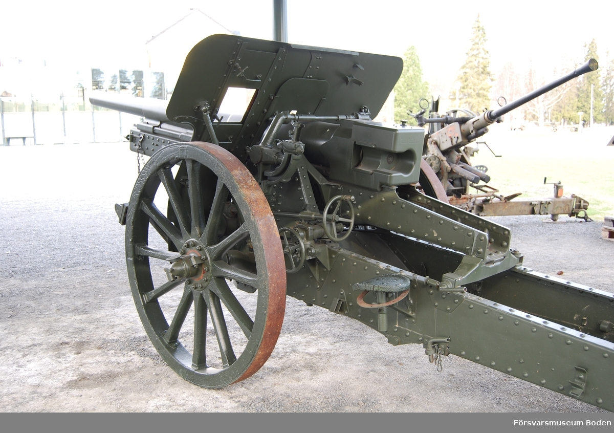 Typ Feldkanone m/1904 försedd med nytt längre eldrör. Friedrich Krupp, Essen, Tyskland 1917. Tillverkningsnummer 631.